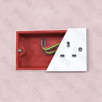 Intumescent Acoustic Putty Pad (double) installed in electrical socket box