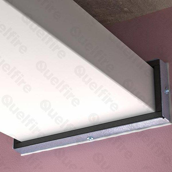 QRS Intumescent Fire Sleeve with QuelStop Acrylic Sealant around plastic vent duct penetrating fire compartment wall