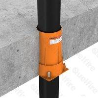QuelCast Cast In Fire Collar installed with 110mm diameter pipe penetrating concrete floor