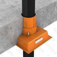 QuelCast Cast In Fire Collar with Manifold on bottom installed with 110mm diameter pipe penetrating concrete floor